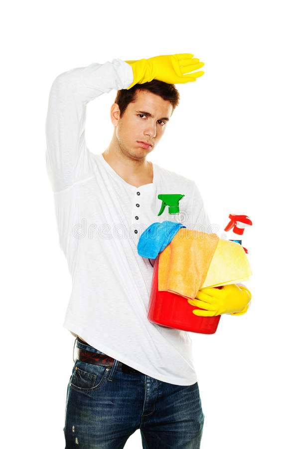 mieszkania cleaning domu mężczyzna połysk zdjęcie stock
