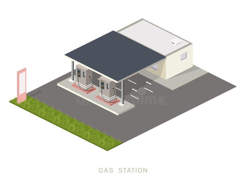 Mieszkania 3d benzyny napełniania staci isometric benzynowego ponaftowego elementu infographic pojęcie obrazy royalty free