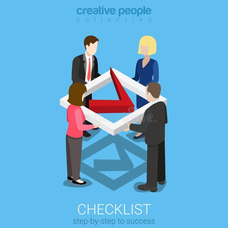 Mieszkania 3d czeka listy isometric wektorowej oceny checkmark biznesowy znak ilustracja wektor
