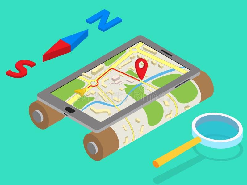 Mieszkania 3d GPS nawigaci isometric mobilne mapy ilustracja wektor