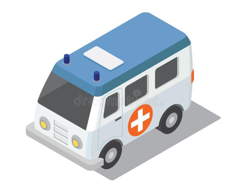 Mieszkania 3d isometric ambulansowy samochód dla miasto mapy kliniki konstruktora royalty ilustracja