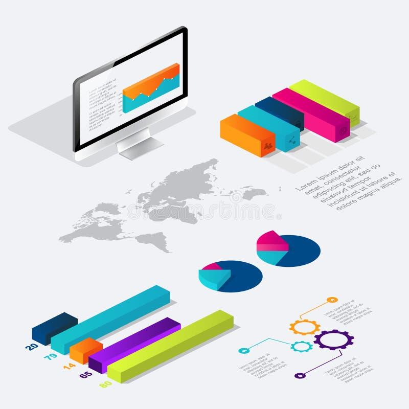 Mieszkania 3d isometric infographic dla twój biznesowych prezentacj royalty ilustracja
