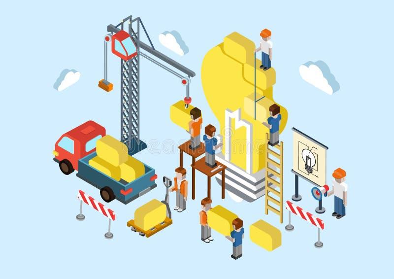 Mieszkania 3d isometric kreatywnie pomysł brainstorming sieci pojęcie ilustracji