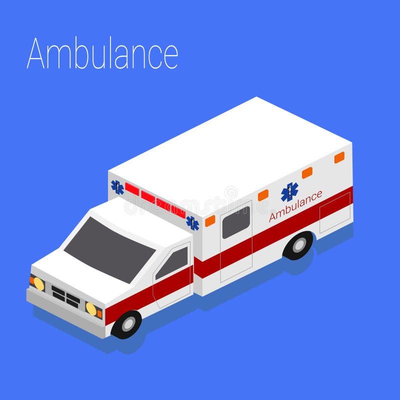 Mieszkania 3d isometric stylowy ambulansowy przeciwawaryjny medyczny ewakuacyjny wypadek ilustracja wektor