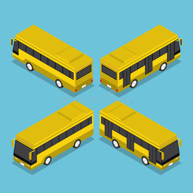 Mieszkania 3d Isometric transportu publicznego Autobusowa usługa ilustracja wektor