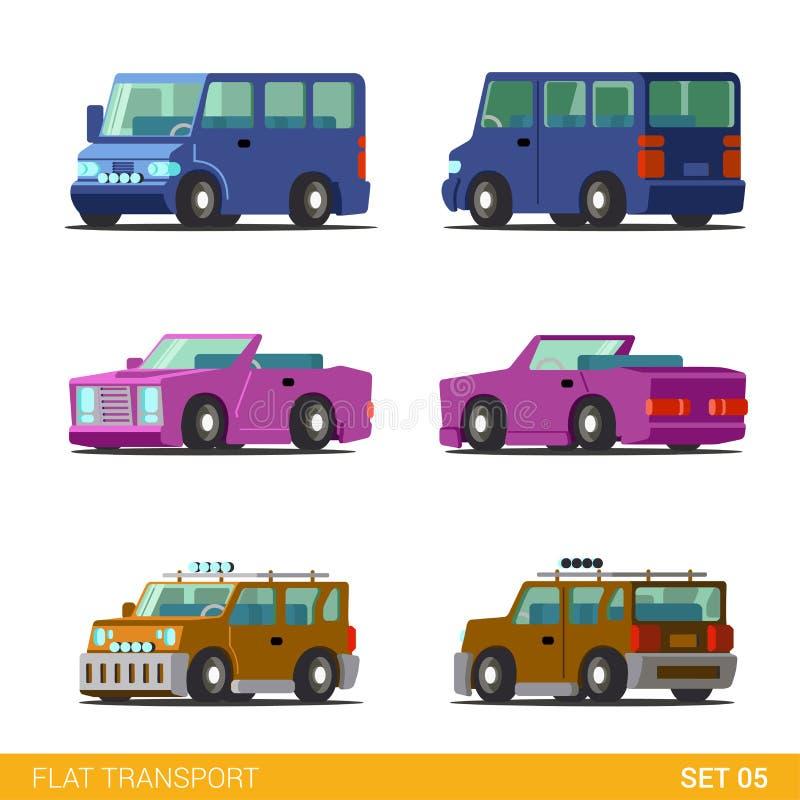 Mieszkania 3d miasta transportu isometric ikona ustawiająca: rodzinni samochody, cabrio royalty ilustracja