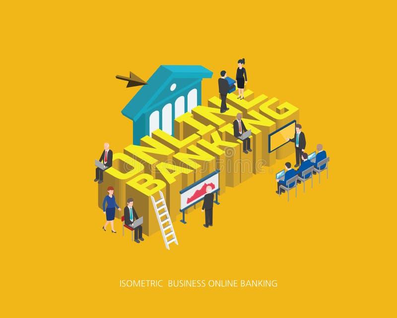 Mieszkania 3d online bankowości pojęcia isometric wektorowy ilustracyjny projekt, Abstrakcjonistyczny miastowy nowożytny styl, wy ilustracja wektor