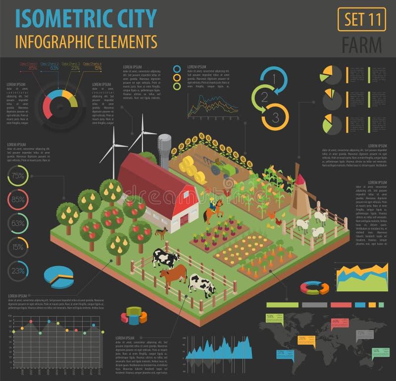 Mieszkania 3d rolnej ziemi i miasta mapy konstruktora isometric elementy są ilustracja wektor