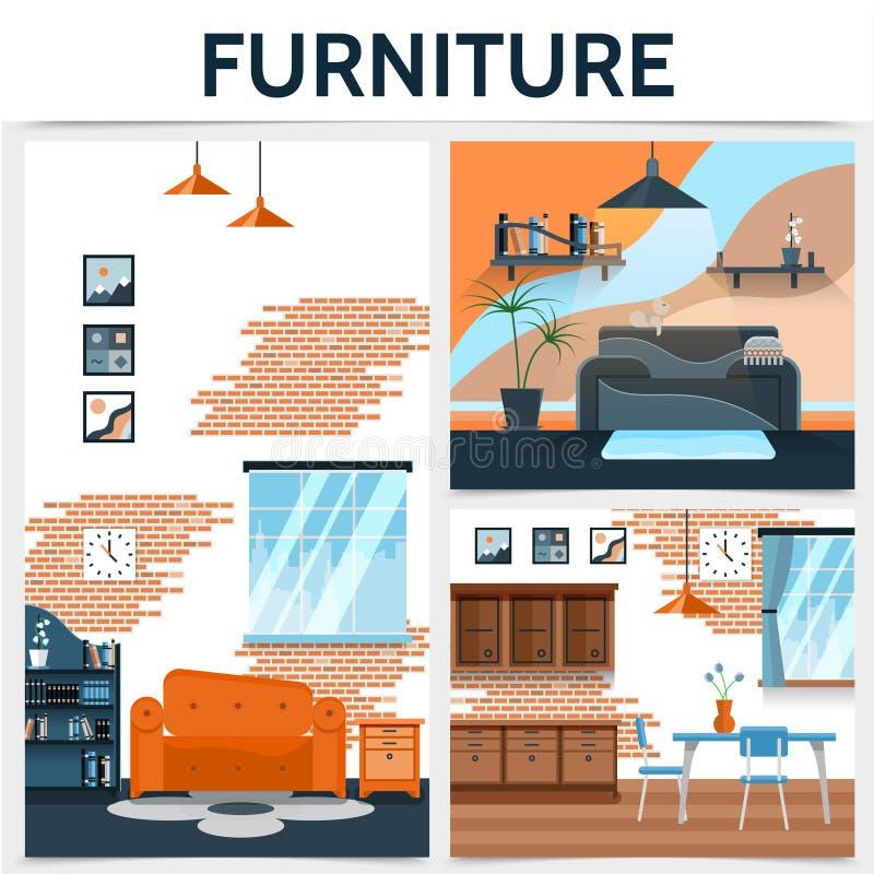 Mieszkania Domowy Wewnętrzny pojęcie ilustracja wektor