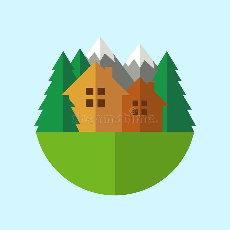Mieszkania eco domu stylowa odznaka z górami i drzewami kuli ziemskiej loga wektoru sieć ilustracja wektor