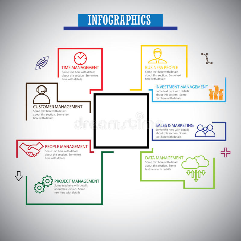 Mieszkania infographics kreskowe ikony ustawiać zarządzanie - pojęcie wektor ilustracja wektor