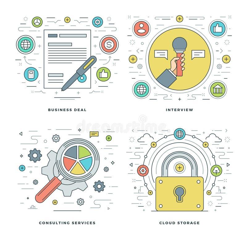 Mieszkania kreskowy Konsultować, wywiad, przechowywanie danych, biznesów Kontraktacyjni pojęcia Ustawia Wektorowe ilustracje ilustracji