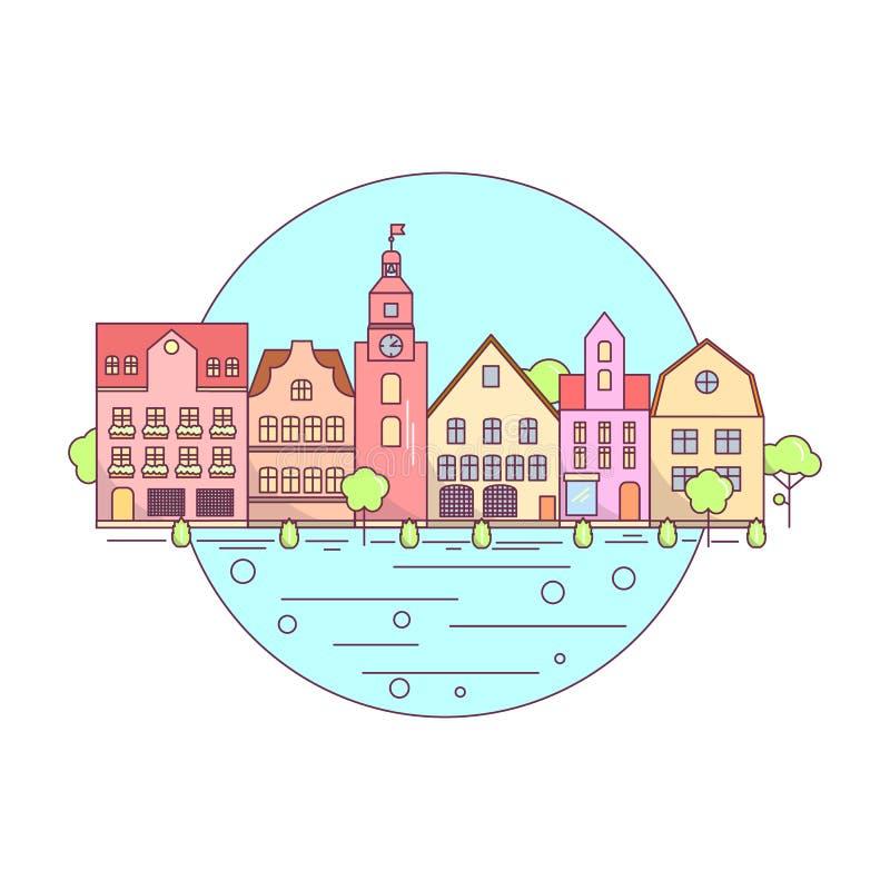 Mieszkania miasta krajobrazu Kreskowa ikona, strona internetowa elementów Miastowy krajobraz układ ilustracja wektor