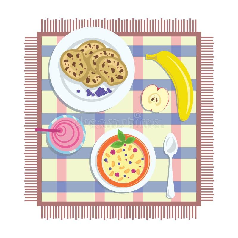 Mieszkania nieatutowy śniadanie ilustracja wektor