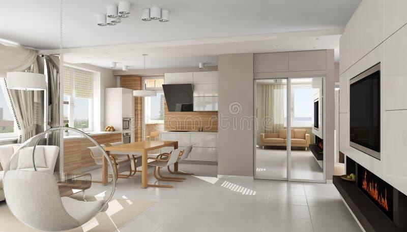 mieszkania nowożytny wewnętrzny luksusowy royalty ilustracja