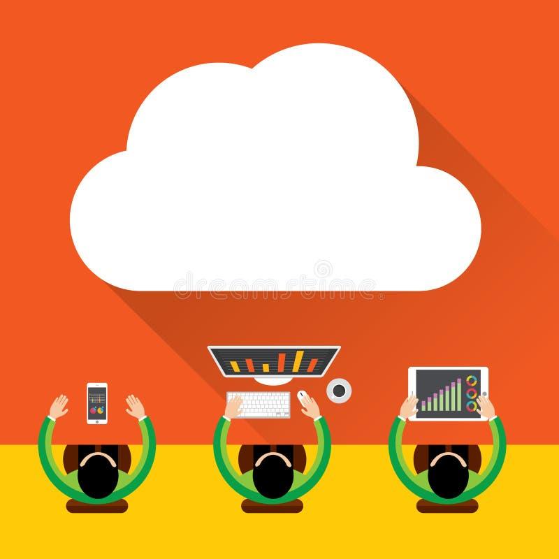 Mieszkania obłoczny oblicza tło Przechowywanie danych sieci technologia, Cyfrowego Marketingowy pojęcie, Multimedialna zawartość  royalty ilustracja