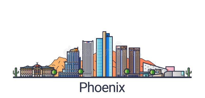 Mieszkania Phoenix kreskowy sztandar ilustracja wektor
