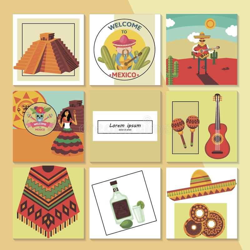 Mieszkania powitanie Meksyk skład ilustracji