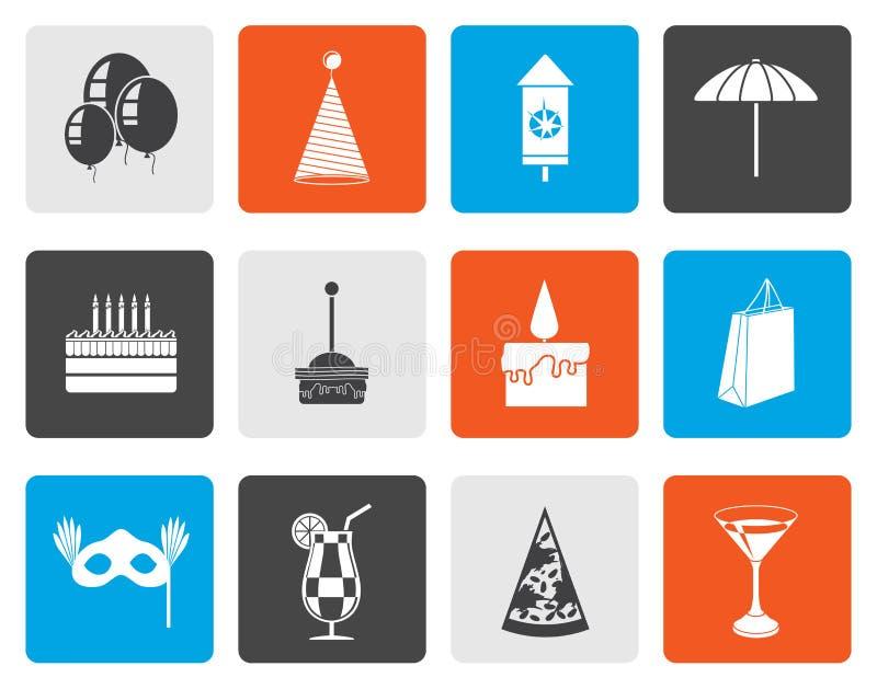 Mieszkania przyjęcie i wakacje ikony royalty ilustracja