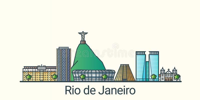 Mieszkania Rio De Janeiro kreskowy sztandar royalty ilustracja