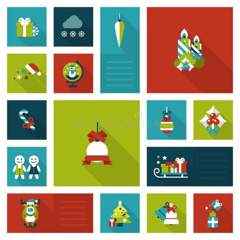 Mieszkania stylowy Xmas, nowy rok dekoracj szablonu ikony wakacyjny set ilustracji