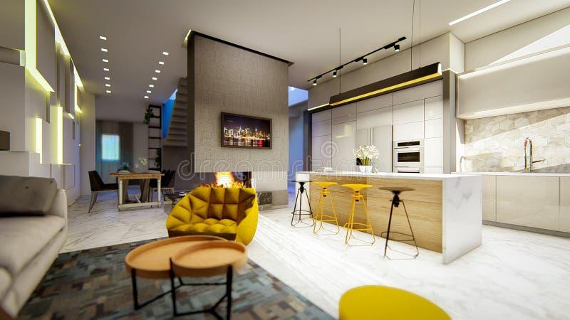 Mieszkania wnętrze kuchni i ogienia graba royalty ilustracja