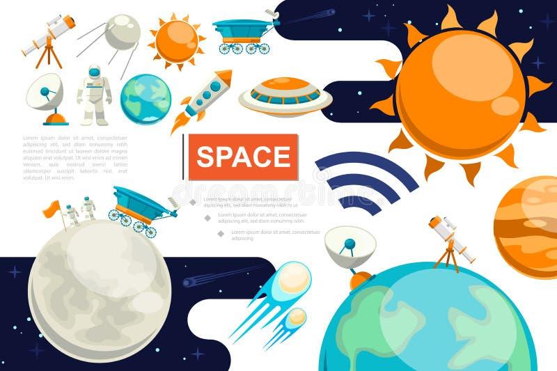 Mieszkanie Astronautyczny Kolorowy sk?ad royalty ilustracja