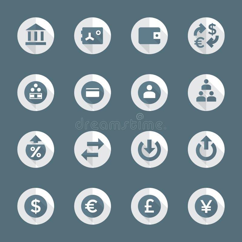 Mieszkanie bankowości stylowe różnorodne pieniężne ikony ustawiać ilustracji