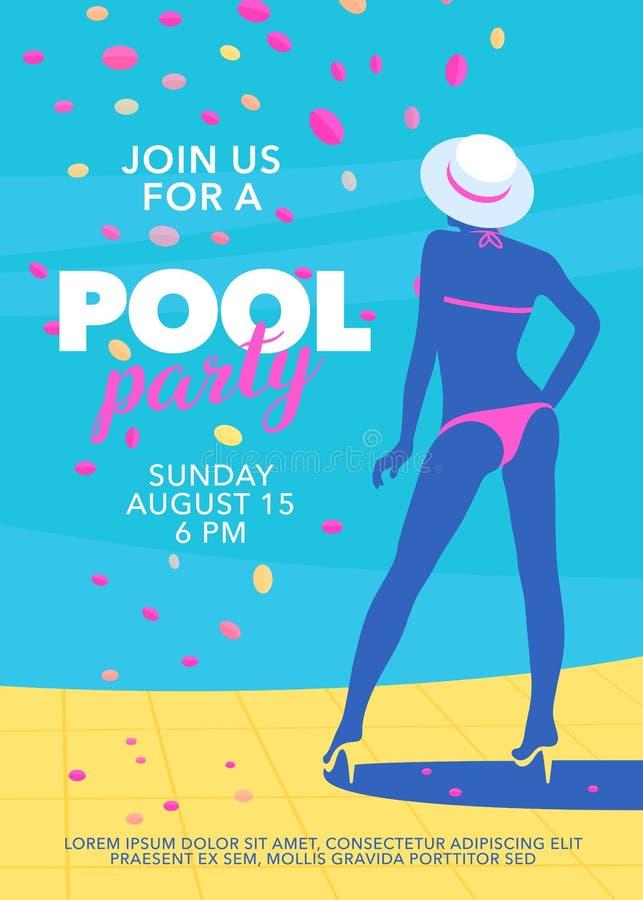 Mieszkanie basenu przyjęcia stylowy plakat z dziewczyną obok basenu wektoru ilustracji ilustracji