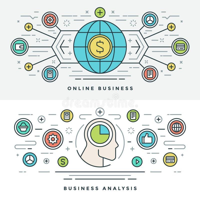 Mieszkanie Biznesowej analizy pojęcia wektoru kreskowa Online ilustracja ilustracji