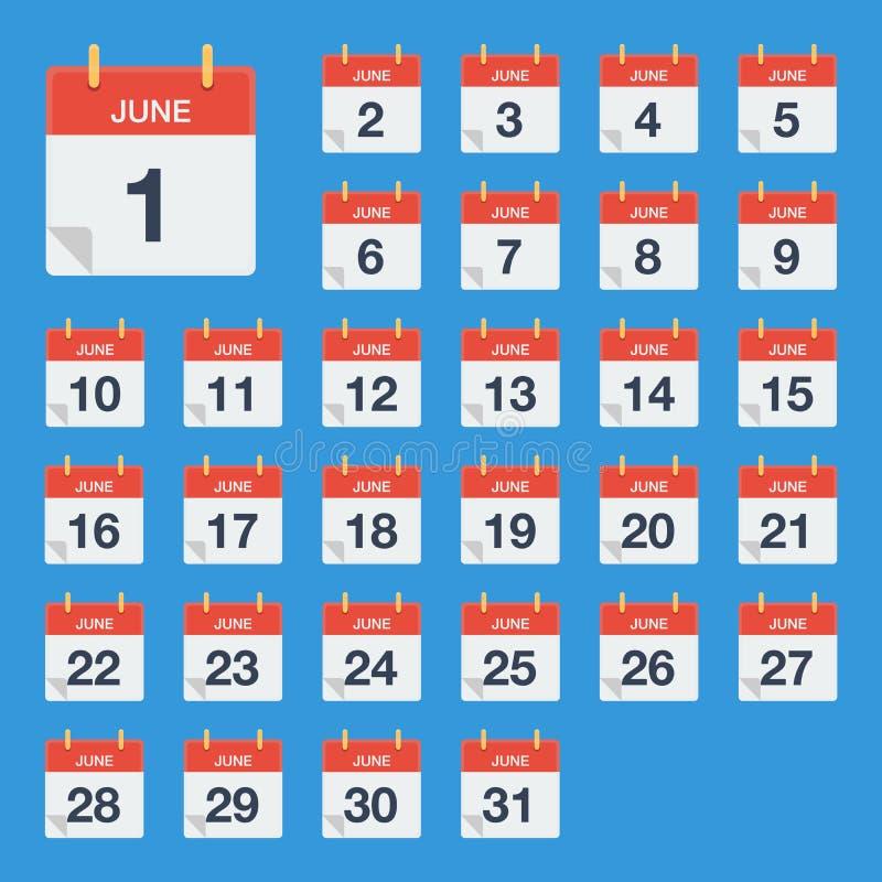 Mieszkanie Czerwa kalendarzowa ikona Kalendarz na ścianie również zwrócić corel ilustracji wektora royalty ilustracja