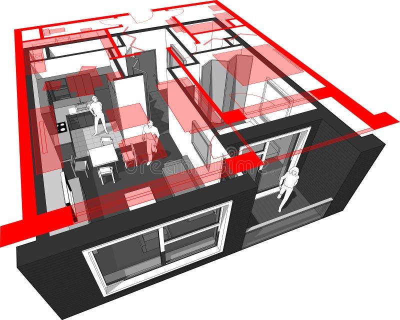 Mieszkanie diagram royalty ilustracja