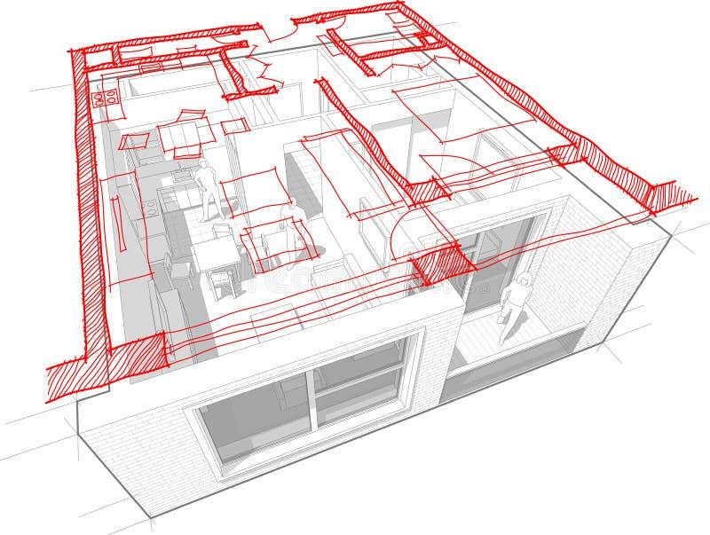 Mieszkanie diagram z ręka rysującym floorplan diagramem ilustracja wektor