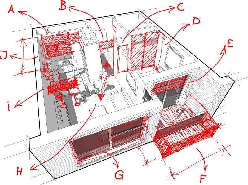 Mieszkanie diagram z ręki rysować architekta ` s notatkami ilustracja wektor