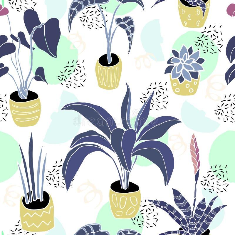 Mieszkanie domu rośliny w garnka wzorze royalty ilustracja