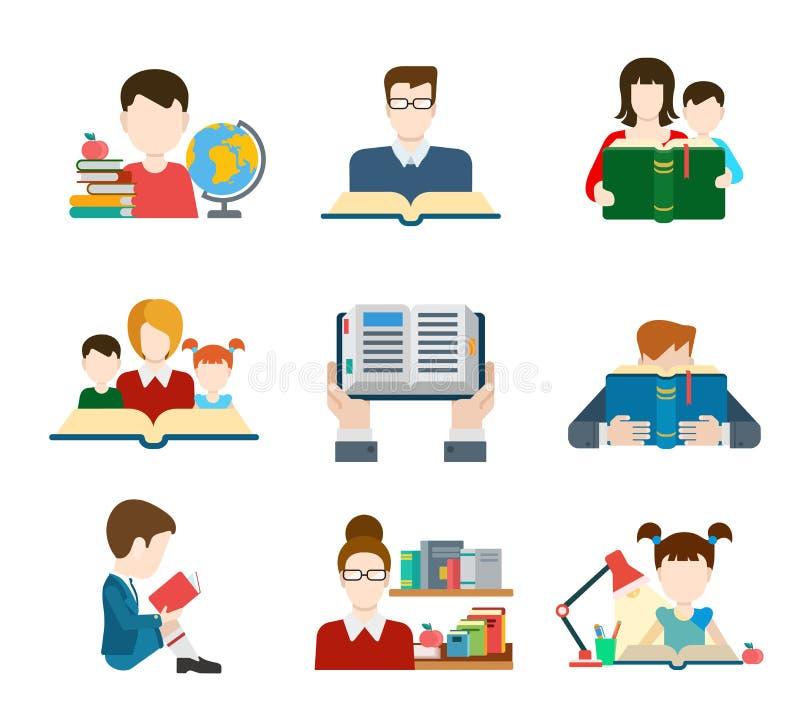 Mieszkanie edukaci ikony setu stylowi ludzie ilustracji
