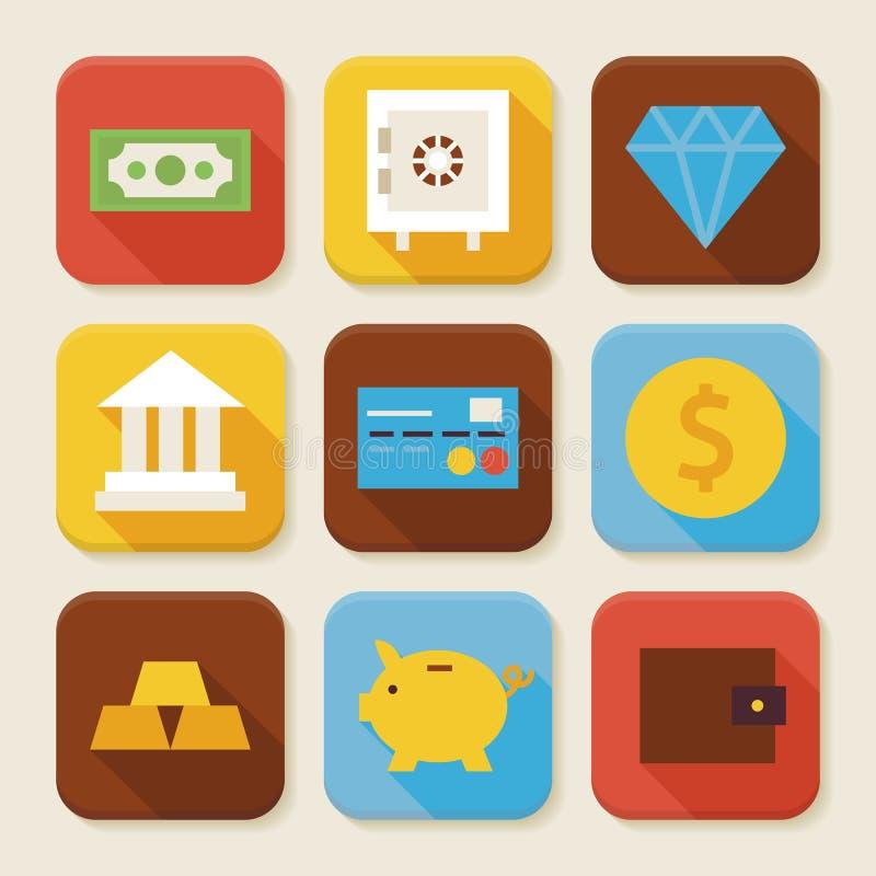 Mieszkanie finanse i bankowości App Ciosowe ikony Ustawiać royalty ilustracja