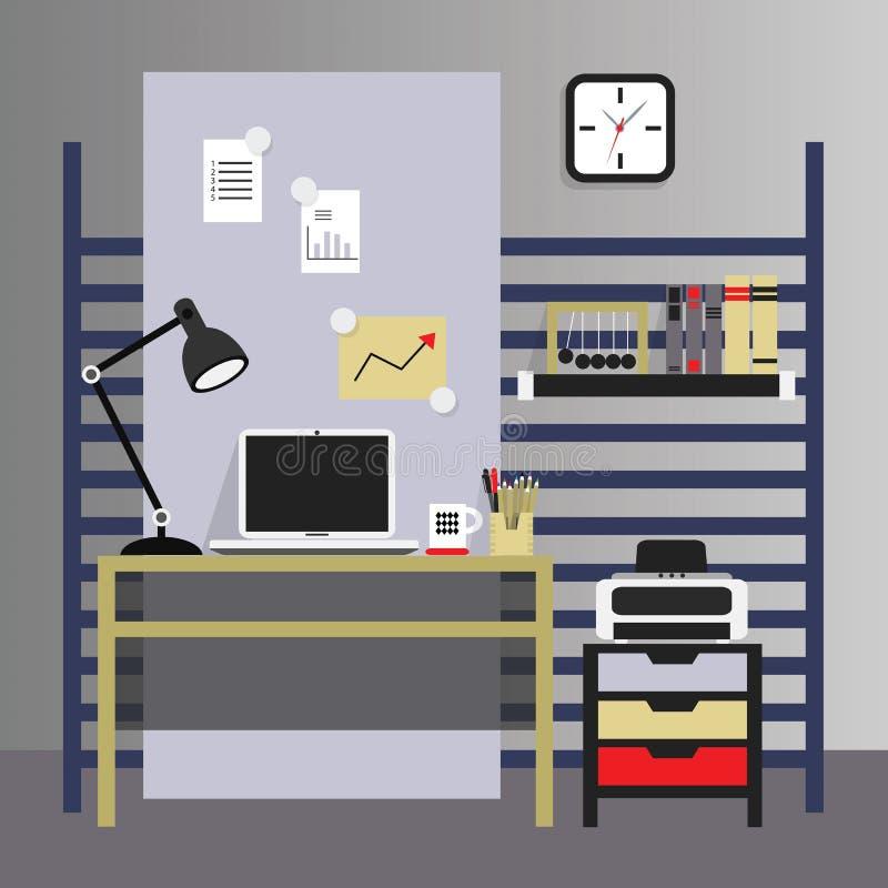 Mieszkanie i elegancki wewnętrzny pracujący miejsce, nowożytny, royalty ilustracja