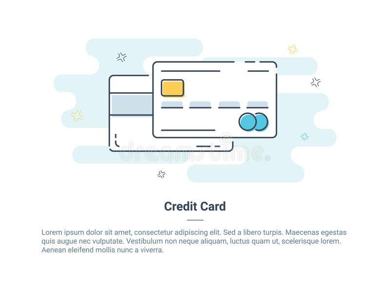 Mieszkanie ikony kreskowy pojęcie kredyt lub karta debetowa również zwrócić corel ilustracji wektora ilustracji