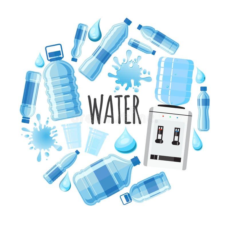 Mieszkanie jasnego wody Round pojęcie ilustracja wektor