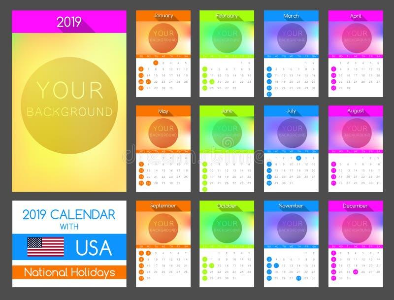 Mieszkanie kalendarza projekt 2019 z usa świętem narodowym royalty ilustracja