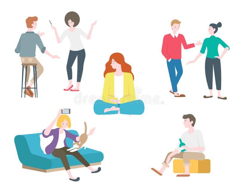 Mieszkanie kobiety i relaksują w inny sposób kreskówki ilustracji ilustracji