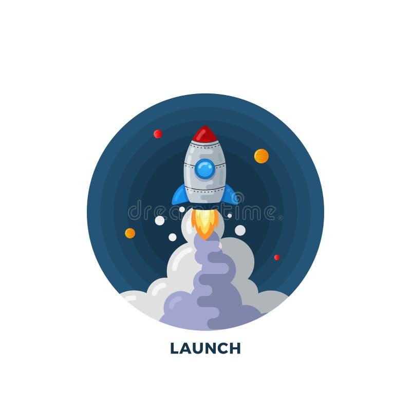 Mieszkanie kreskówki rakiety Stylowy wodowanie w Astronautycznym Ilustracyjnym szablonie Nauka symbol Zaczyna up ikonę ilustracji