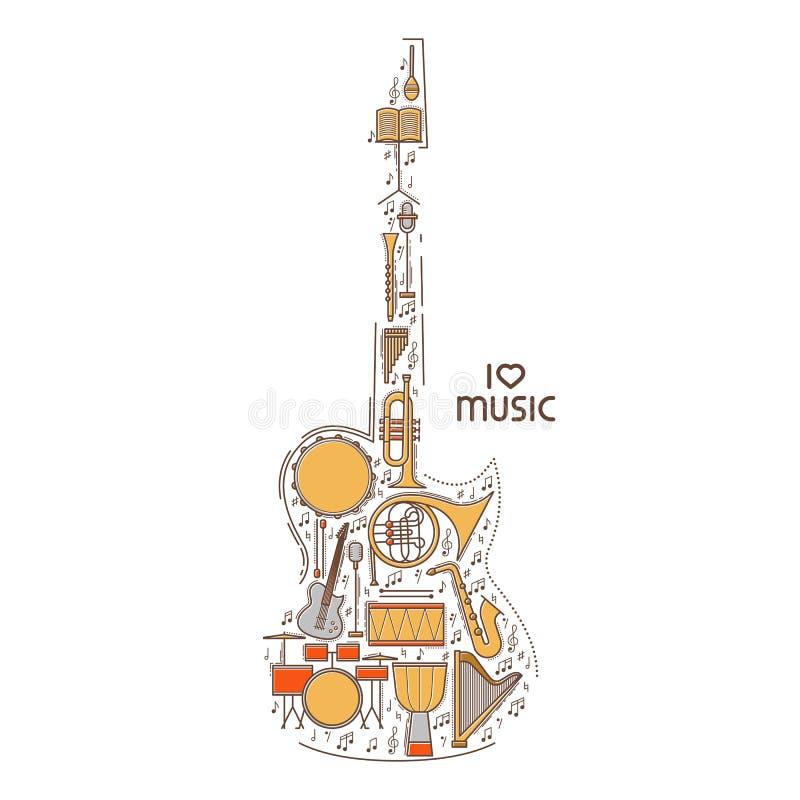 Mieszkanie kreskowa muzyczna ikona ustawiająca w gitara kształcie Wektorowy pojęcie ilustracja nowoczesnej Rocznika tła projekt R ilustracji