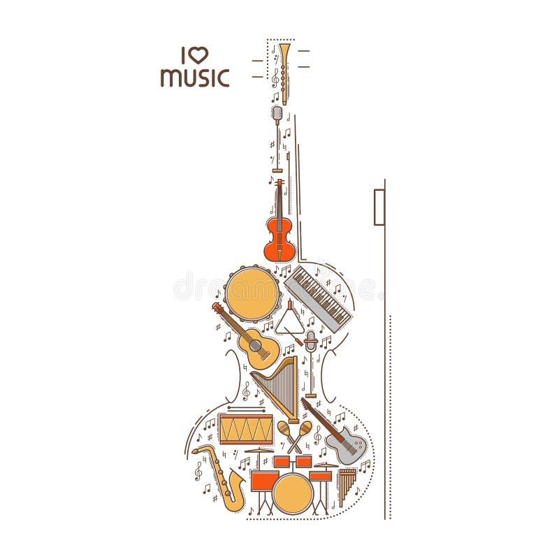 Mieszkanie kreskowa muzyczna ikona ustawiająca w skrzypcowym kształcie Wektorowy pojęcie ilustracja nowoczesnej Rocznika tła proj royalty ilustracja