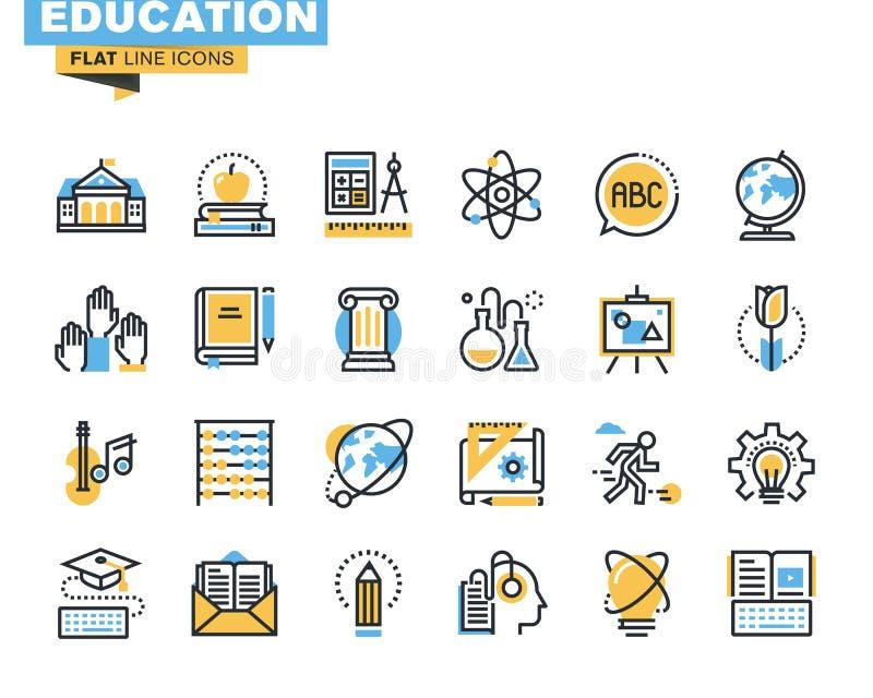 Mieszkanie kreskowe ikony ustawiać edukacja proces royalty ilustracja