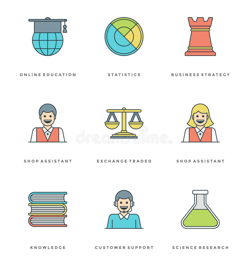 Mieszkanie kreskowe proste ikony ustawiać Cienkiego liniowego uderzenia podstaw przedmiotów wektorowi symbole ilustracja wektor
