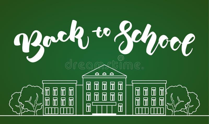 Mieszkanie kreskowy biały budynek szkoły z drzewami i ręką pisze list Z powrotem szkoła na zielonym blackboard tle ilustracja wektor