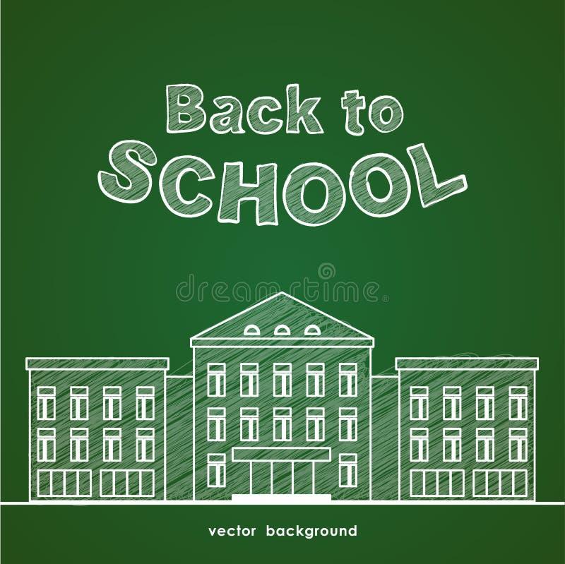 Mieszkanie kreskowy biały budynek szkoły Z powrotem i ręka rysujący literowanie szkoła na zielonym blackboard tle ilustracji