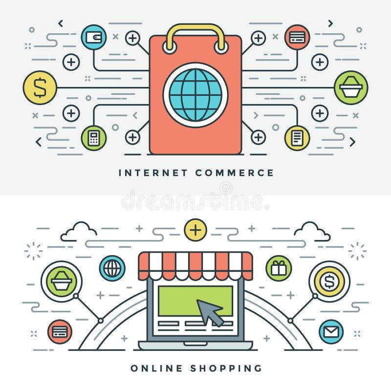 Mieszkanie kreskowy Internetowy handel i Online zakupy również zwrócić corel ilustracji wektora ilustracja wektor